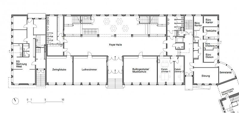 Museum Foyer Grundriss : Team architekten kirchgemeindehaus paulus zürich